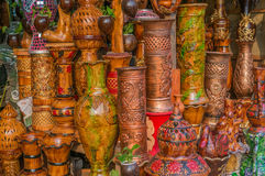 Clay pots with arts Stock Photography