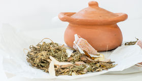 Clay pots and chinese medicine for boiling Royalty Free Stock Images