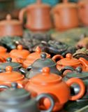 Clay pots in the Chinese tea market Royalty Free Stock Photo