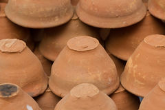 Clay pots. Clay cups. Indian glay disposable cups.Modern India today. Thousand-year tradition. The ancient culture Stock Images