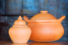 Clay pots. Closeup of clay pots in daylight stock image