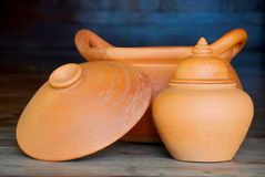 Clay pots. The closeup of Thailand traditional clay pots royalty free stock photography