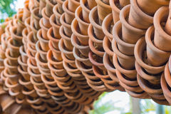 Clay pots and connectivity. Terracotta plant pots and very beautiful art Stock Photo