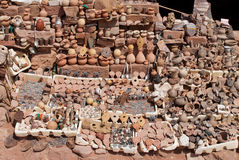 Clay pots and crafts. Clay pots, trinkets, and other craft items for sale stock photo