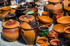 Clay pots cups various sizes shapes on fair stall stock photography