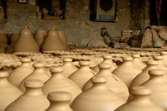 Clay pots drying in pottery shop Royalty Free Stock Photography