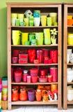 Clay pots in the florist shop Stock Photos