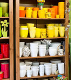Clay pots in the florist shop Stock Photos
