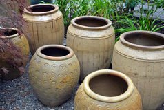 Clay pots in garden shop Royalty Free Stock Photography