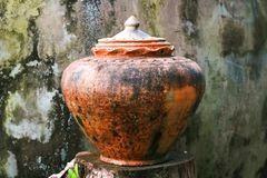 Clay pots, for house use keep a water for eat. Clay pots of baked clay kept in the sun to dry, for house use keep a water for eat Royalty Free Stock Photo