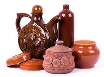 Clay pots isolated Royalty Free Stock Photos