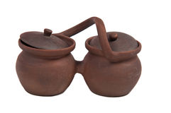 Clay pots (isolated on white background) Stock Photography