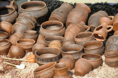 Clay pots and jugs Royalty Free Stock Images