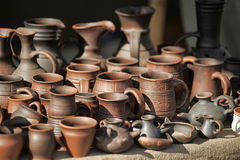 Clay pots and jugs Royalty Free Stock Image