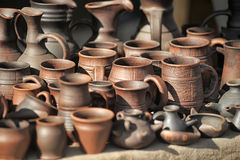 Clay pots and jugs Royalty Free Stock Photos