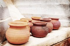 Clay pots lomo Stock Photography