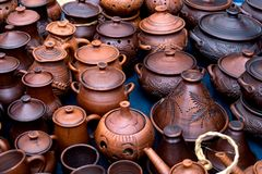 The clay pots made for sale stock photography