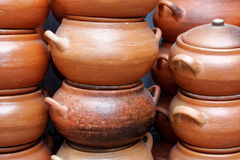 Clay pots at market in Lima Royalty Free Stock Image