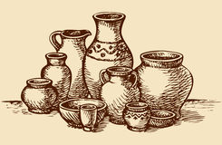 Clay Pots Of Different Sizes And Shapes. Vector Sketch Royalty Free Stock Photo