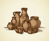 Clay Pots Of Different Sizes And Shapes. Vector Sketch Stock Photography