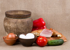 Clay pots, oil,  meat pork Royalty Free Stock Photography