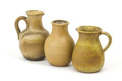 Clay pots, old ceramic vases. On white background Stock Photography