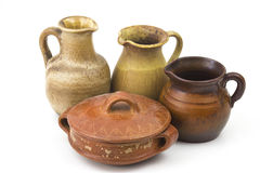 Clay pots, old ceramic vases Stock Photos