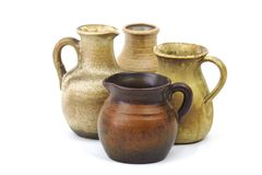 Clay pots, old ceramic vases. On white background Royalty Free Stock Photos