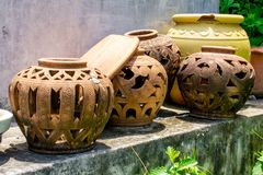 Clay pots, old The left. stock photos
