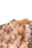 Clay pots with painting. Ukrainean clay ceramics pots with painting in hay Stock Photography