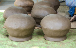 Clay pots, Pottery is made by hand Stock Images