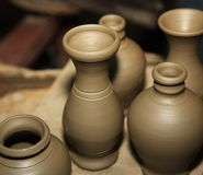 Clay pots ready to be baked and painted Stock Photos