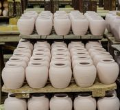 Clay pots ready to be fired Royalty Free Stock Images