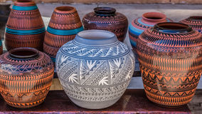 Clay Pots, Santa Fe, New Mexiko Stockfoto