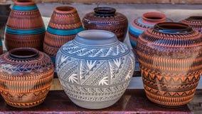 Clay Pots Santa Fe som är ny - Mexiko Arkivfoto