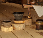 Clay pots. A set of clay pots on wooden boards Stock Image