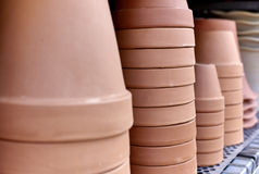 Clay Pots on a Shelf Stock Photo