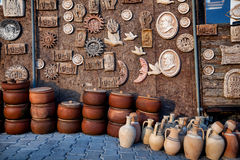 Clay pots and souvenir at Goreme market Stock Photos