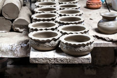 Clay pots spread Royalty Free Stock Photo