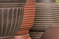 Clay pots stacked Stock Photo