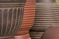 Clay pots stacked Stock Photo