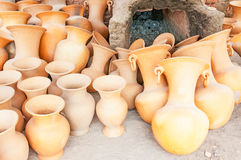 Clay pots. Stored outside Stock Images