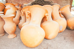 Clay pots. Stored outside Royalty Free Stock Images