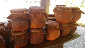 Clay pots on the table royalty free stock photography