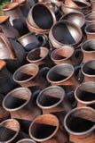 Clay pots top view Stock Photos