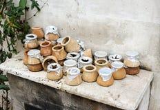 Clay pots for turkish tasty kebab kavurma royalty free stock photo