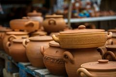 Clay pots and vases, wine bottles, Souvenirs of Georgia. royalty free stock images