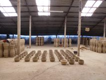 Clay pots at within a warehouse in vietnam Stock Image