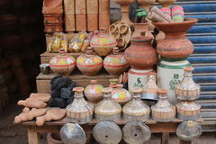 The clay pots. A young boy  selling clay pots in sukkur sindh Pakistan Royalty Free Stock Images