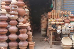 The clay pots. A young boy selling clay pots in sukkur sindh Pakistan Royalty Free Stock Photo